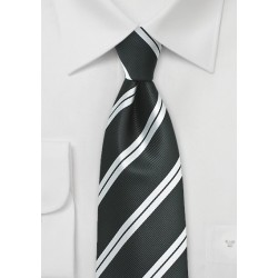 Repp Stripe Tie in XL Length in Black and Silver