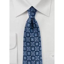 Designer Medallion Tie in Navy and Silver