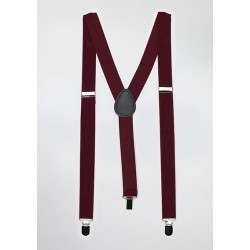 Burgundy Red Elastic Band Suspenders