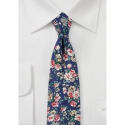 Navy, Pink, and White Cotton Print Tie