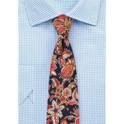 Colorful Vintage Floral Print Tie