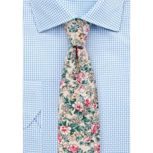 Summer Floral Cotton Print Tie