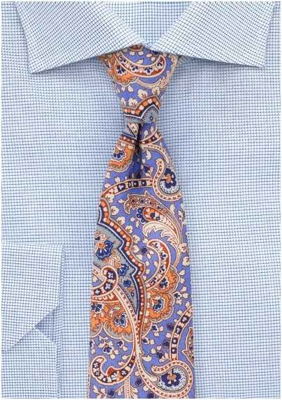 Cotton Paisley Tie in Pastel Blue and Orange