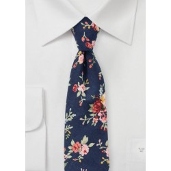 Rose Print Tie in Navy and Pink