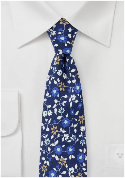 Blue and White Floral Print Tie