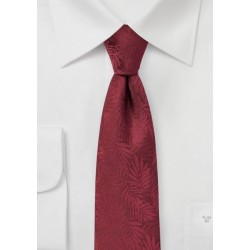 Wine Red Skinny Tie with Tropical Leaves