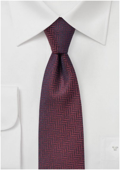 Dark Wine Red Herringbone Tie