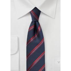 Midnight Blue Striped Skinny Tie