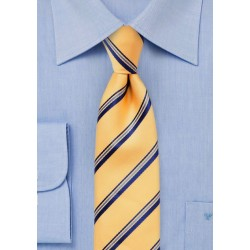 Golden Yellow Striped Skinny Tie