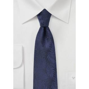 Dark Navy Skinny Tie with Tropical Leaf Design
