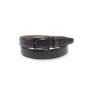 Braided Black Genuine Leather Belt