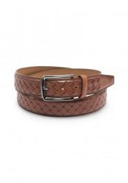 Braided Cognac Brown Genuine Leather Belt