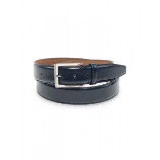 Classic Dress Leather Belt in Dark Navy