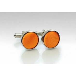 Bright Tangerine Fabric Covered Cufflinks