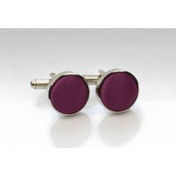 Fabric Covered Cufflinks in Plum