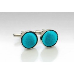 Bright Aqua Fabric Covered Cufflinks