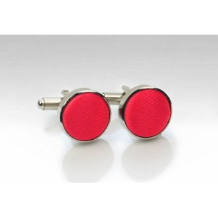 Fabric Covered Cufflinks in Bright Red