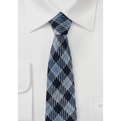 Blue Plaid Winter Wool Tie