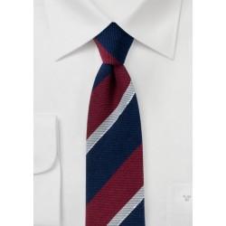 Wool and Silk Blend Striped Skinny Tie