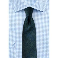 Trendy Plaid Skinny Tie in Midnight Blue and Green