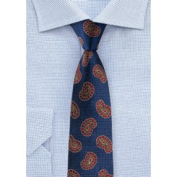 Fun Paisley Silk Tie in Navy and Red