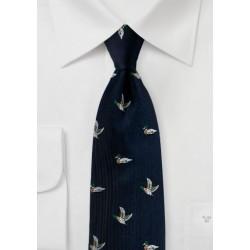 Midnight Blue Silk Tie with Embroidered Mallard Ducks
