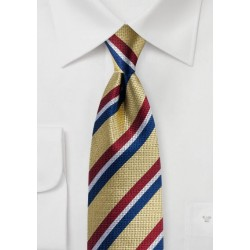 Gold Designer Tie with Red, White, Blue Stripes