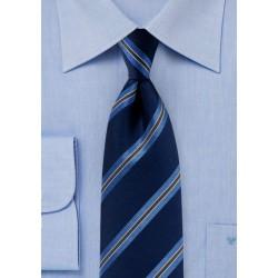 Dark Navy Striped Tie in Matte Finish