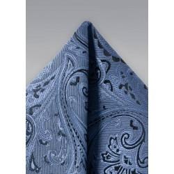 Steel Blue Paisley Pocket Square