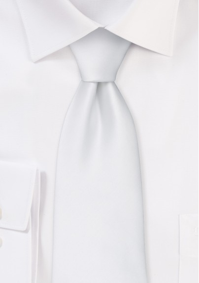 solid bright white necktie
