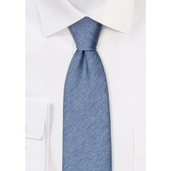 Wool Textured Steel Blue Mens Tie