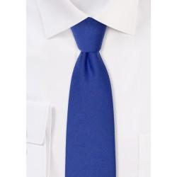 Narrow Woolen Necktie in Marine Blue