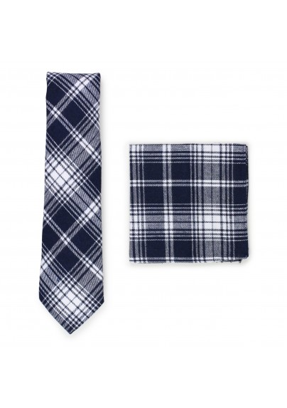 navy and white tartan plaid skinny tie and hanky set in cotton