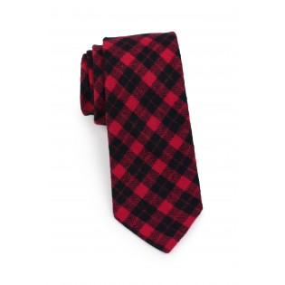 skinny plaid tie in red and black