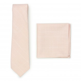 peach pink wedding skinny tie and pocket square