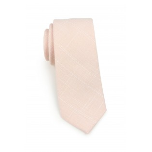 skinny necktie in peach in cotton
