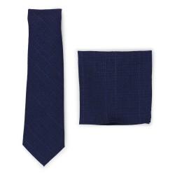 skinny cotton tie set in dark navy blue