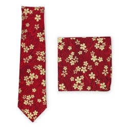 red floral tie with gold flower print in cotton