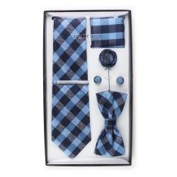 6-piece menswear set in blue plaid