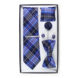 6-piece menswear set in dark navy plaid