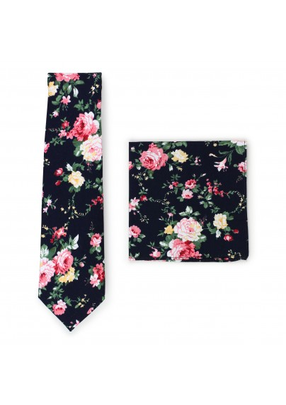 black and pink rose print cotton tie set