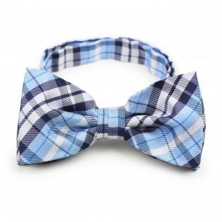 Powder blue plaid pre-tied bow tie