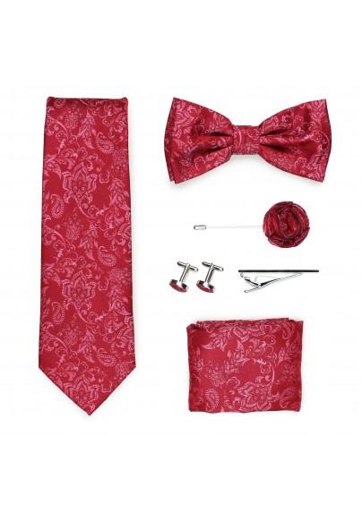 Wedding groomsmen gift set in raspberry red paisley