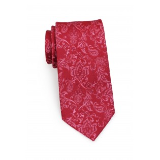 Standard length raspberry red paisley necktie