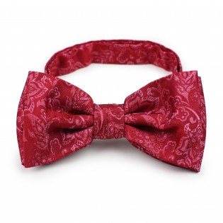 Raspberry red paisley pre-tied bow tie