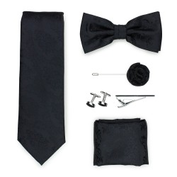 Wedding groomsmen gift set in black paisley