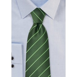 Green men's ties - Green striped necktie