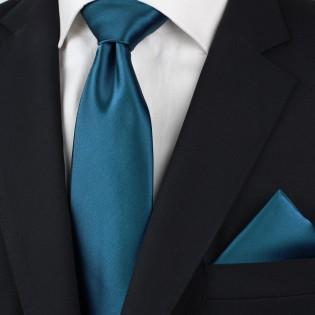 XL Mens Tie in Dark Teal-Blue Styled
