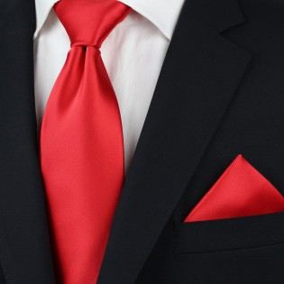 Solid color mens ties - Bright red men's necktie styled