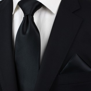 Extra long black tie - Formal XL necktie in black styled